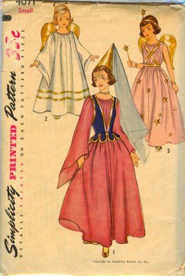 Baby Bean Vintage Studio: 1952 Simplicity Girl's Angel, Princess and Fairy Costume Pattern