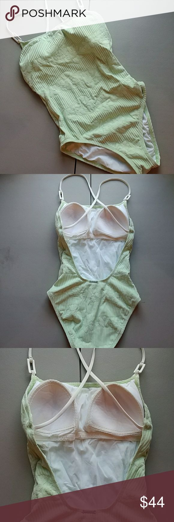 Anne Cole swimwear Pretty light almost mint green. White criss cross straps and low back. Perfect for the pool or beach.. Anne Cole collection Swim One Pieces