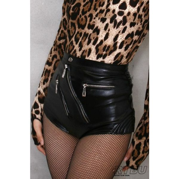 80's Glam Punk Rock Disco Dance High Waist Hot Leather Shorts Vegan... ($58) ❤ liked on Polyvore featuring shorts, bottoms, outfit, short shorts, sexy high waisted shorts, high waisted shorts, high waisted hot pants and high waisted leather shorts