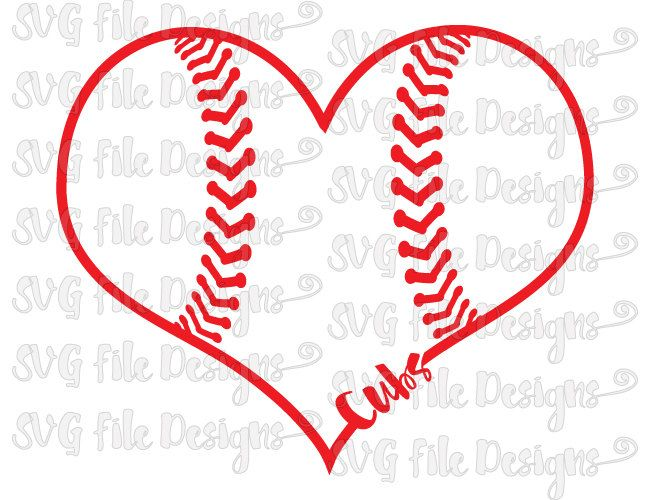 Chicago Cubs Heart Baseball Laces Logo Cutting File Set in Svg, Eps, Dxf, Jpeg for Cricut and Silhouette by SVGFileDesigns on Etsy
