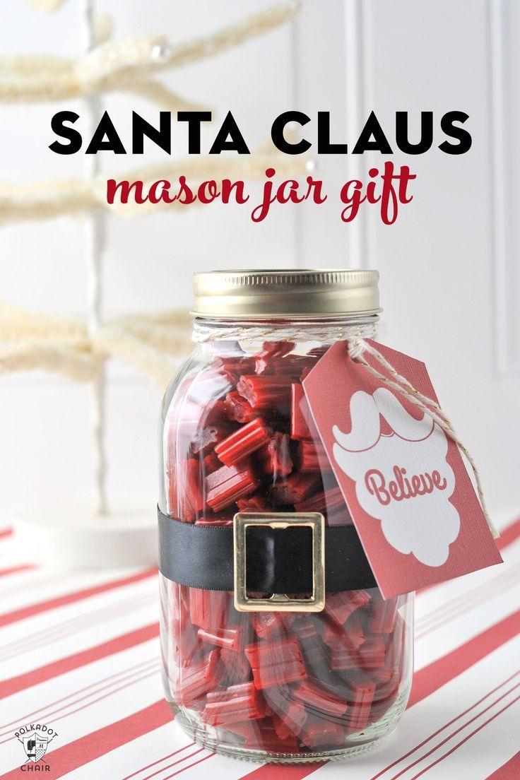 Santa Mason Jar Christmas Gift Idea Fill A Mason Jar With Licorice For A Fun Easy Christmas Gift Christmas Jars Mason Jar Christmas Gifts Christmas Mason Jars