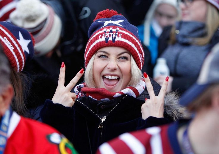 Actress Julianne Hough cheers on boyfriend Brooks Laich, who plays for the Capitals, during the 2015 Bridgestone NHL Winter Classic at Nationals Park in Washington, D.C. on Jan. 1, 2015.