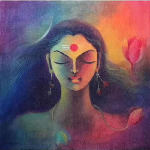 MR15  Arthanareshwar  Acrylic on canvas  24 x 24 inches  Available