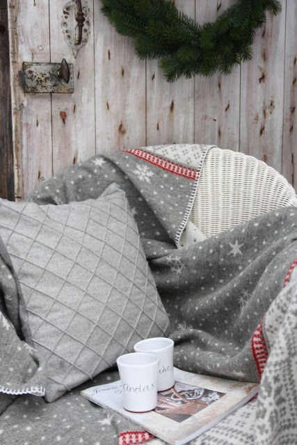a cozy spot, warm blanket, something good to read and a hot drink...winter loves..