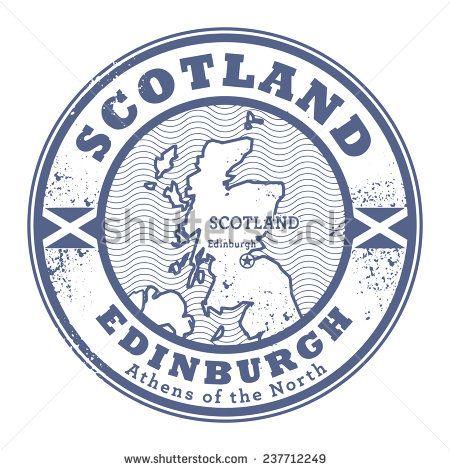 Grunge Rubber Stamp With Words Scotland Edinburgh Inside