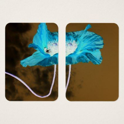 #Flowers - abstract blue Poppies - inverted colors Business Card - #flower gifts floral flowers diy