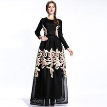 Элегантное Платье 2016 Весна Осень Европейская Мода Новый Повседневная Полный Рукавом Золотой Нитью Вышивки Black Mesh Макси Платье(China (Mainland))