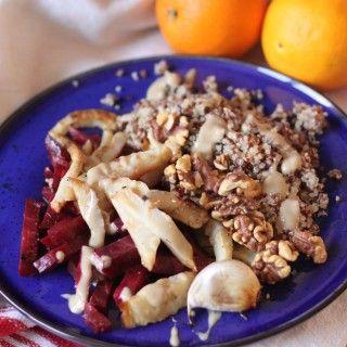 Sült zeller, cékla & quinoa tál narancsos tahini öntettel #vegán #gluténmentes |mindenmentes.hu