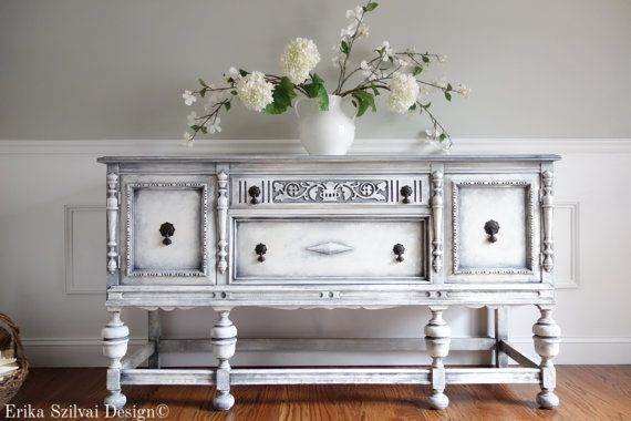 SOLD!!! - Antique Ornate Carved Jacobean Hand Painted French Country Shabby Chic Weathered White Grey Buffet Sideboard Cabinet