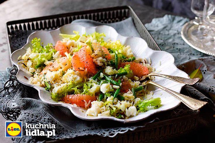 Sałatka z dzikiego ryżu z grejpfrutem i fasolką.  Kuchnia Lidla - Lidl Polska. #lidl #ryneczeklidla