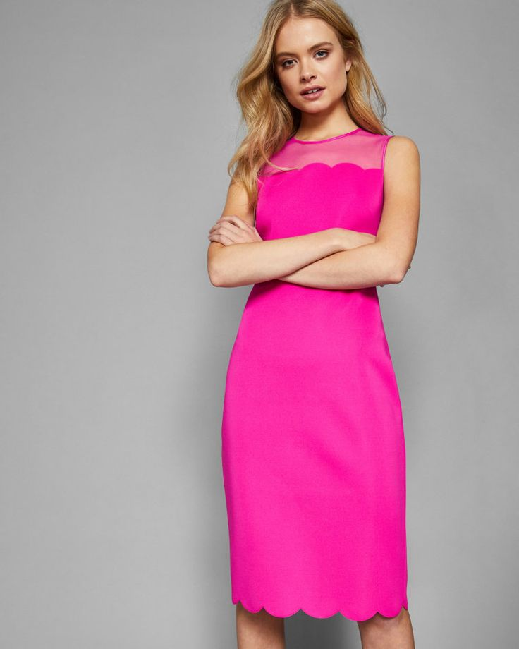 Scallop mesh overlay midi dress - Bright Pink | Dresses | Ted Baker
