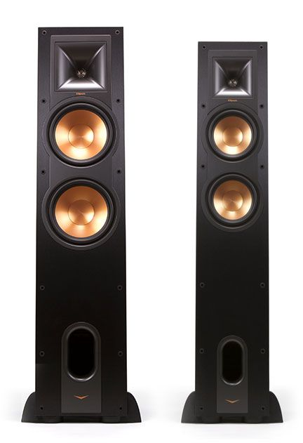 Klipsch R-26F and R-28F floorstanding speakers. These go as low as 38Hz and 35Hz respectively. Almost no need for a subwoofer.