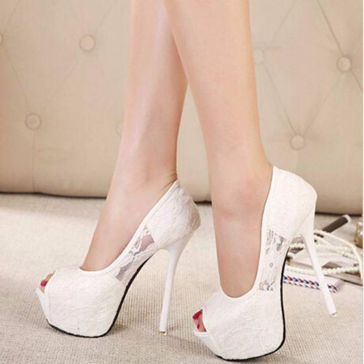 Elegant Women Lace Open Toe High Heel Pump Shoes