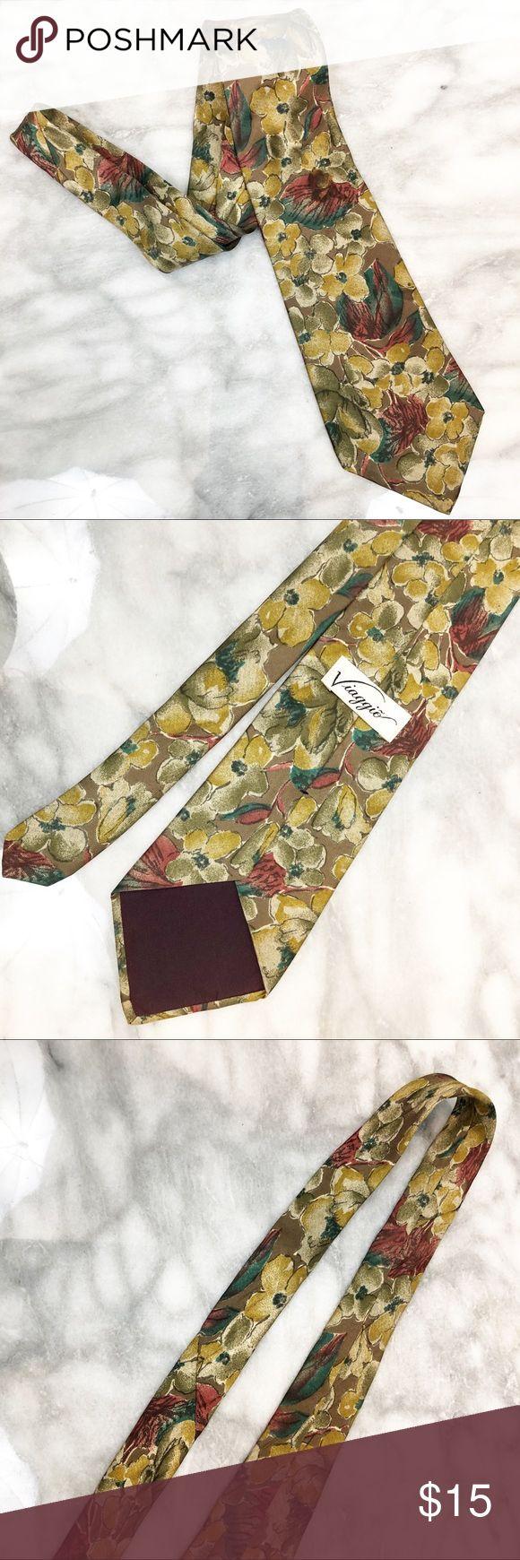 Viaggio vintage floreale marrone, ruggine e cravatta d'oro Viaggio vintage floreale marrone, …