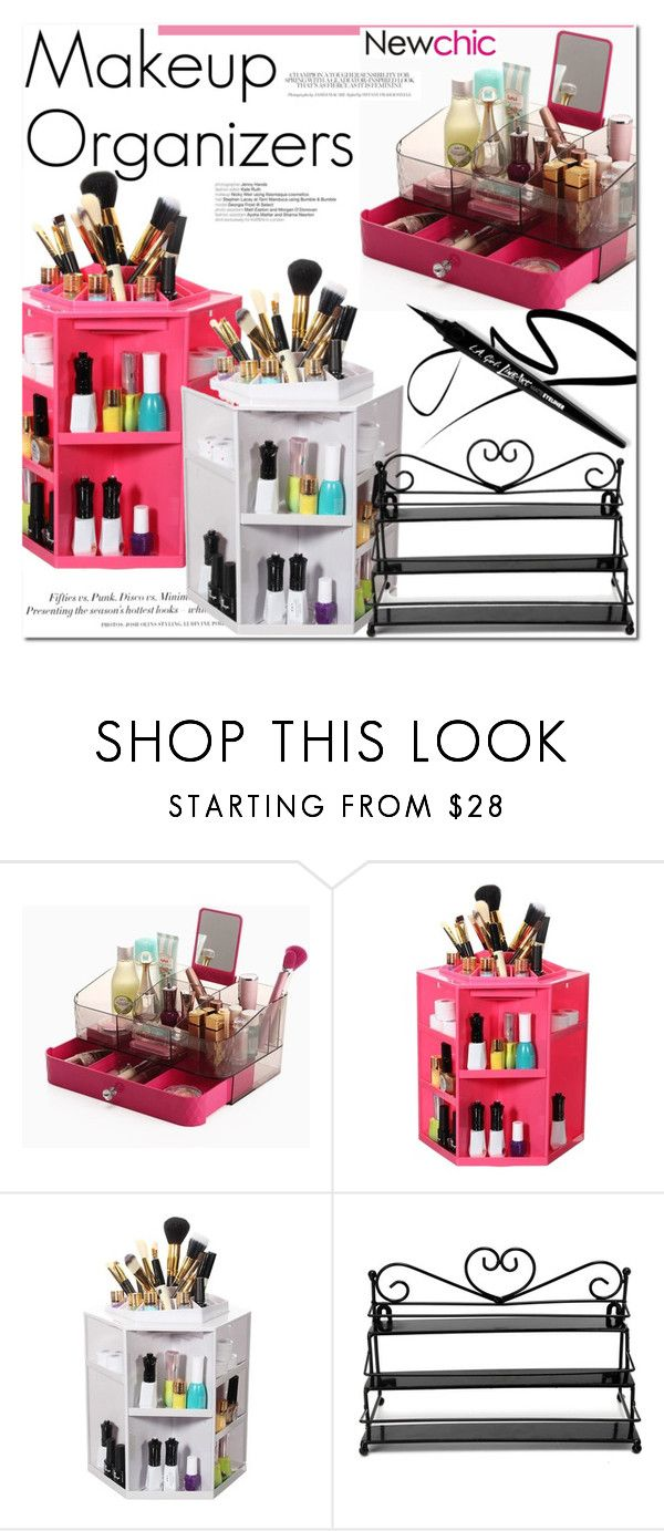 360 ºRotating Makeup Case Lipstick BB Cream Cosmetic Organizer Box (Pink / White)  Newchic.com by vict0ria on Polyvore featuring beauty and H&M