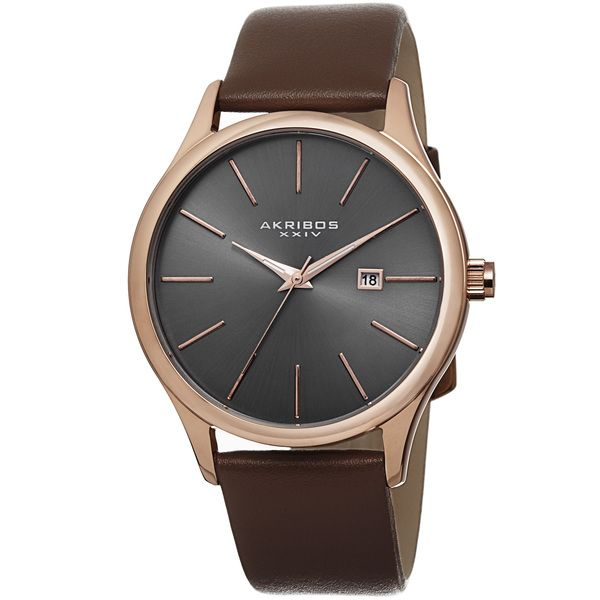 Akribos XXIV Classic Men's Sunray Dial Genuine Leather Strap Watch   Overstock.com Shopping - The Best Deals on Akribos XXIV Men's Watches