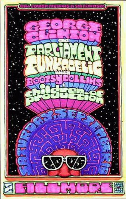 Original concert poster for George Clinton and Parliament Funkadelic at the Fillmore in San Francisco, CA in 2005.  Art by Dave Huckins. 12 x 19 inches on card stock.