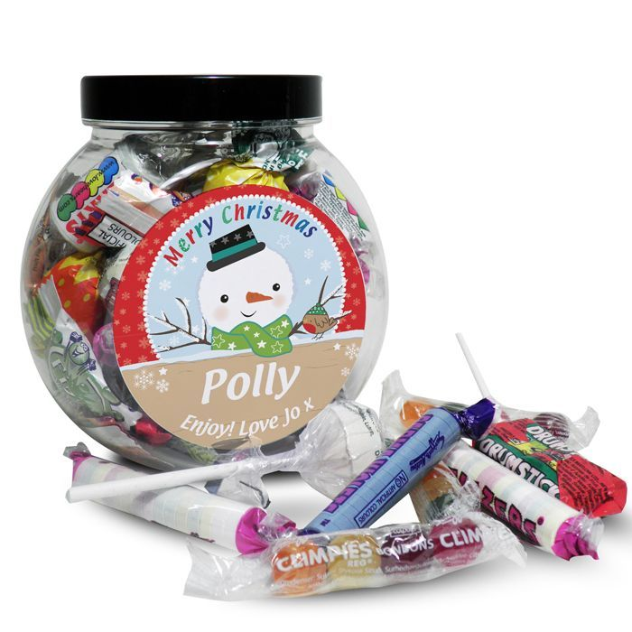 Personalised Snowman Sweet Jar What could be better than a jar of scrumptious sweets this Christmas from Creative Gifts uk