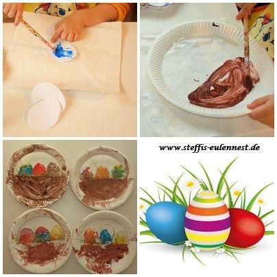 Ostern, Osterei, Osternest, Basteln mit Kindern, U 3 , Pappteller, Ostergras, Malfarben, Pappteller