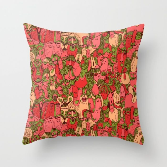 Faces Pattern Throw Pillow by Hanna Ruusulampi | Society6