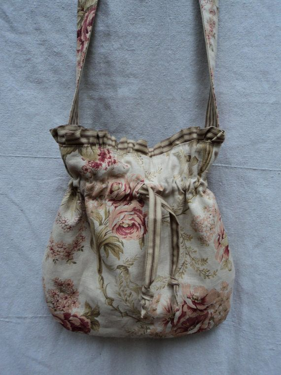 Shabby Chic Bag Linen Purse by theruffleddaisy on Etsy.