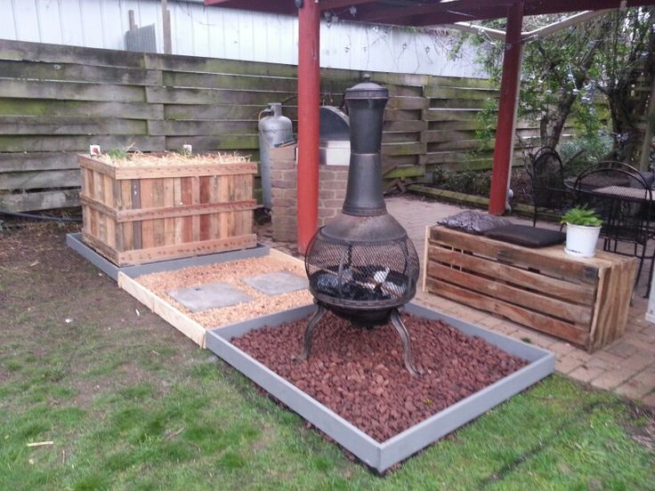 Diy fire area, vegi patch .. sitting area all salvaged materials