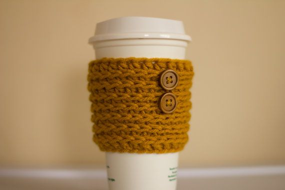Mustard Coffee Cozy with wooden button Coffee by PreciousLambKnits