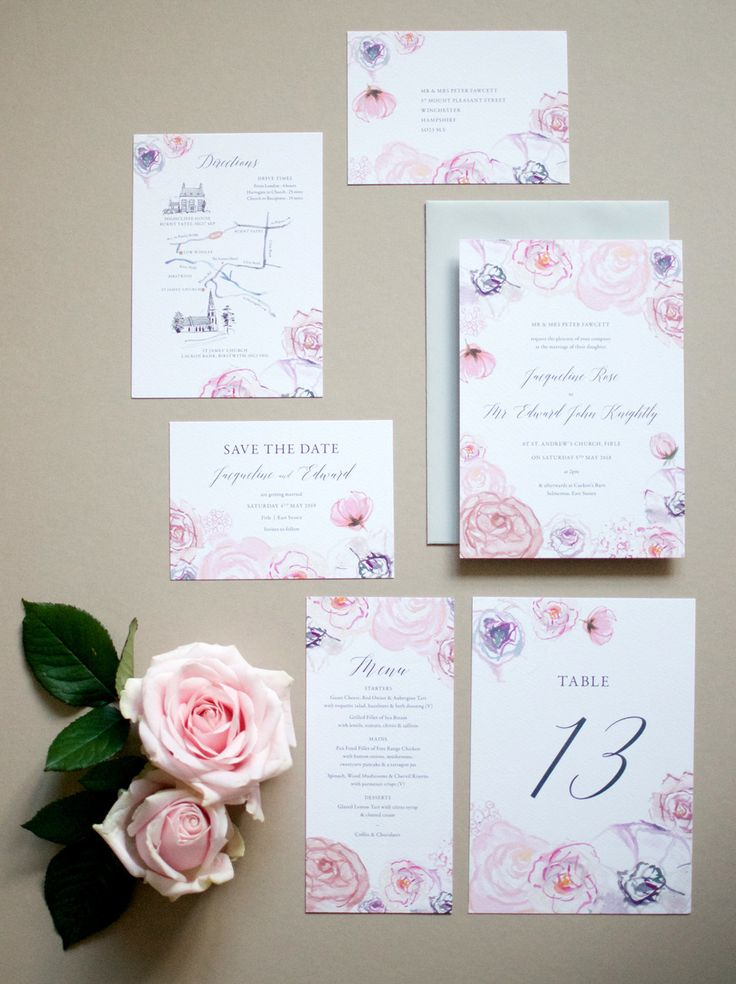 lotus flower wedding invitations%0A Roses and Peonies wedding stationery by Hollyhock Lane  Hand painted pale  blush florals in watercolours in matching invitations  rsvps  hand drawn  map