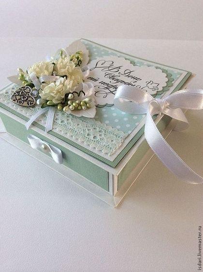 Купить Коробочка для денег свадебная - мятный, коробочка для денег, коробочка на свадьбу, подарок на свадьбу, на свадьбу