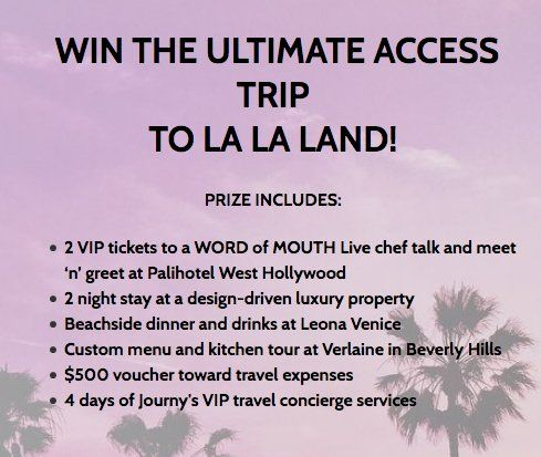 2 VIP tickets to a WORD of MOUTH Live chef talk and meet 'n' greet at Palihotel West Hollywood and more worth $3,000.00 in all.