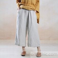 2016 fall nude linen pants wide leg trousers