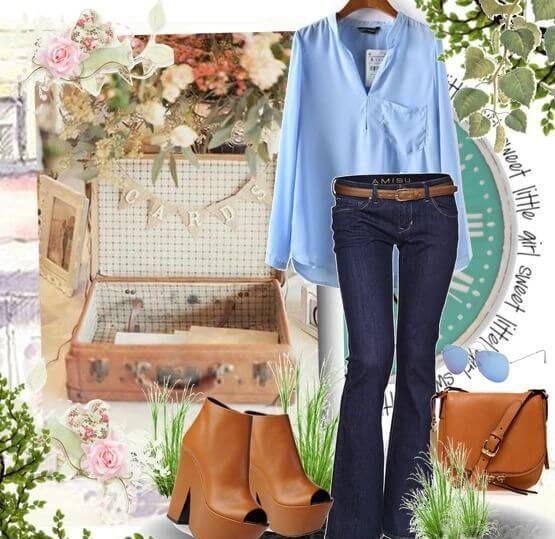 Темно-синие джинсы клеш в сочетании с летящей блузой и аксессуарами коричневого цвета