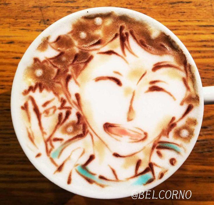 Happy birthday, Oikawa Tooru! ラテアート【及川徹】@ハイキュー!! LatteArt【Haikyuu!!】  本日お誕生日で1杯。 Happy Birthday!  #及川徹生誕祭2015  #及川徹生誕祭