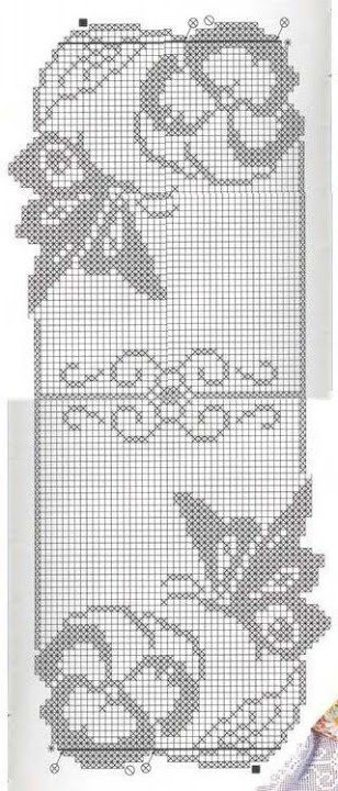 Butterflies & pansies filet crochet table runner pattern