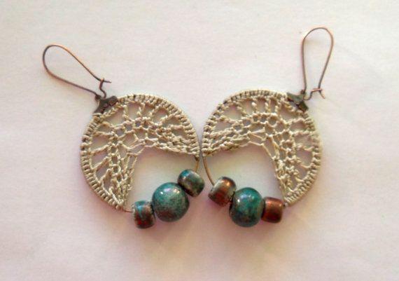 Boho orecchini in caldi toni verde e marrone di Myhandmadepassion