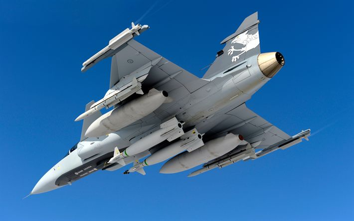 Download wallpapers Saab JAS 39 Gripen, Swedish military aircraft, fighter, 4k, Swedish Air Force, modern military aviation