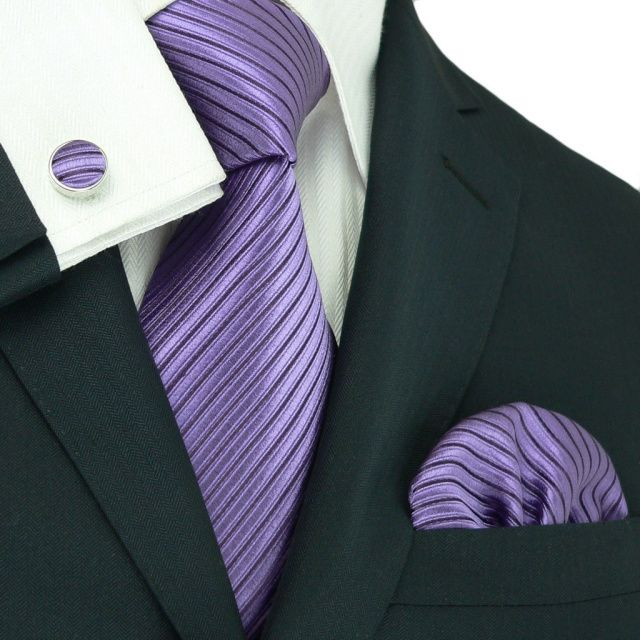Boys tie medium - Woven Jacquard silk in solid lavender purple Notch