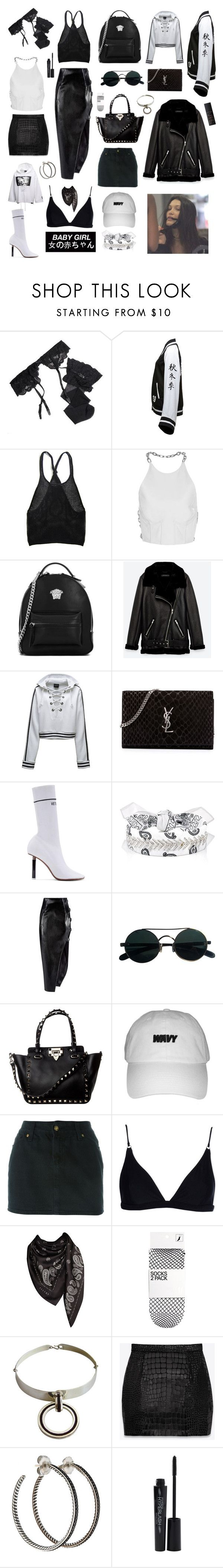 """Untitled #379"" by brookej659 ❤ liked on Polyvore featuring Reger by Janet Reger, Puma, Alexander Wang, Versace, Yves Saint Laurent, Vetements, Fallon, Anthony Vaccarello, Jean-Paul Gaultier and Acne Studios"