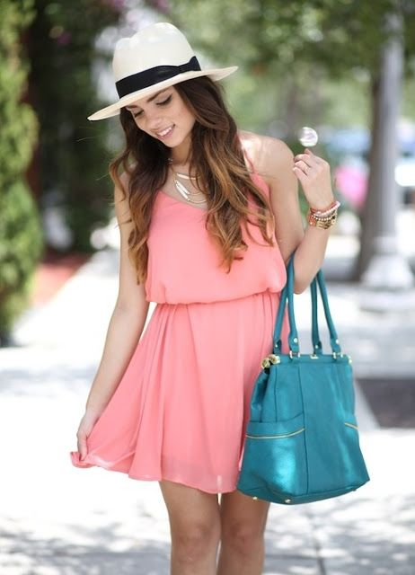 Pink Summer dress and dark mint bag for ladies