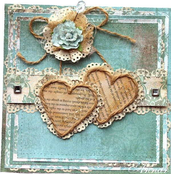 Hearts by Annar33...lovely shabby chic with recycled papers...luv the hearts with twine oulining...