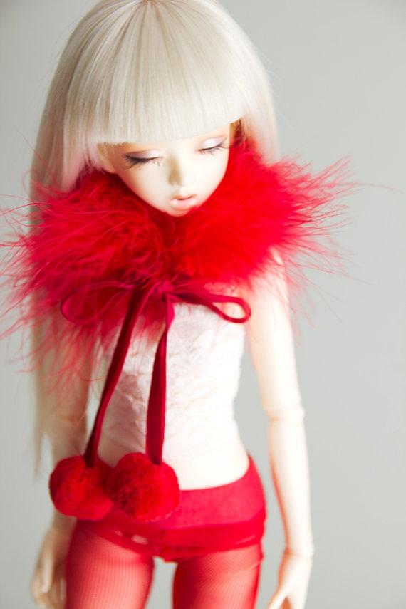 Red Velvet plumage collar for MSD bjd dolls Unoa by sugardollshop, $20.00
