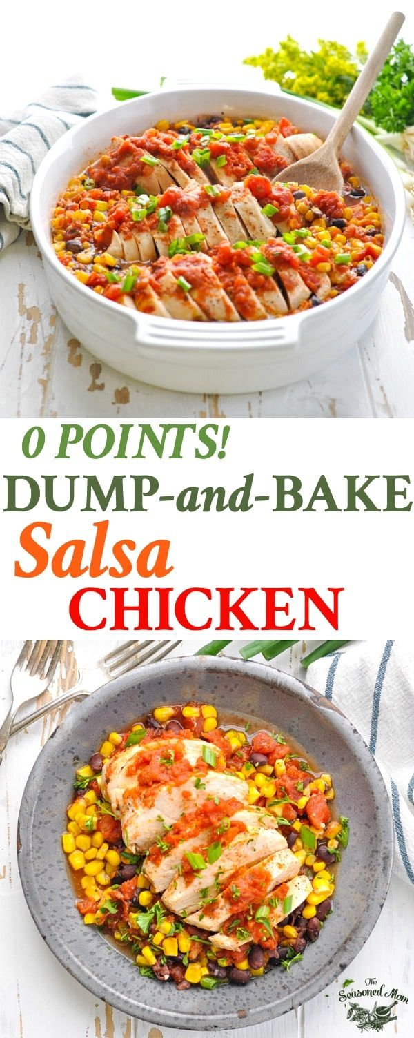Long vertical image of salsa chicken in a casserole dish and on a plate