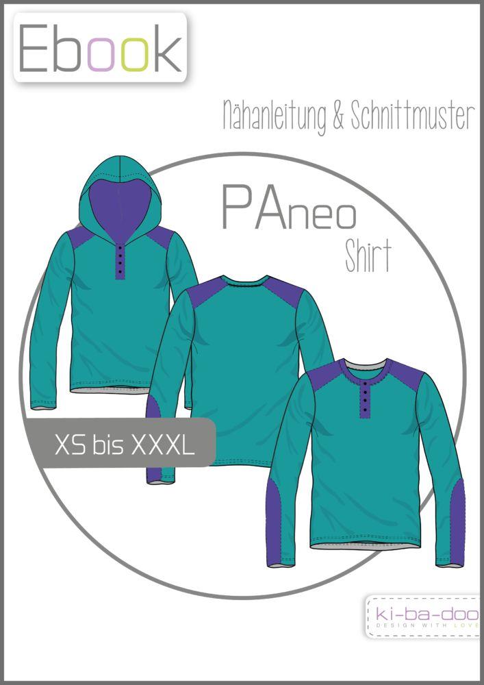 PAneo # Gr XS - XXXL # Schnittmuster und Anleitung als PDF,. Langarmshirt auch mit Knopfleiste und Kapuze nähbar # Ki-ba-doo