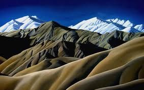 diana adams new zealand artist  >>  The hills around here look like this...brown and scooped like a bowl of pudding...