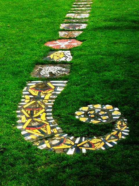 garden path colorful and patterned beautiful…