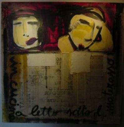 """""""SOTTO IL MATERASSO""""  collage di tessuti su tela e acrilico"""