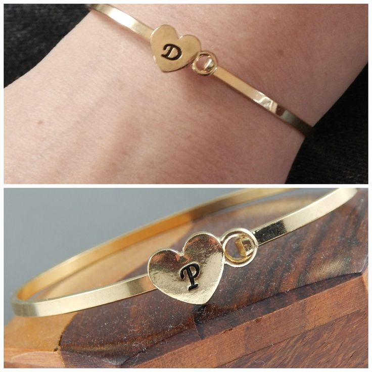 Gold Initial Bangle, Personalized Bracelet For Women, Hand Stamped Initial Bracelet by Kikiburrabeads on Etsy