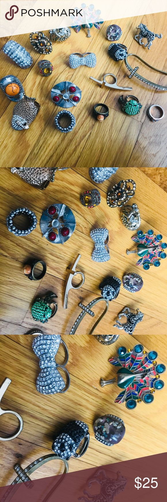 18 Fashion Rings (Including 1 Henri Bendal ring) Lot of 18 Fashion Rings - Variety  - Peacock ring - Size 7 - Panda 🐼 ring - Size 7 (with a ring adjuster on it) - Camel 🐫 ring - Adjustable  - Frog 🐸 ring - Size 6 (with a ring adjuster on it) - Owl 🦉 ring - Size 7 (with a ring adjuster on it) - Horse ring - Adjustable  - Stone rings - All are adjustable  - Cross rings - Size 6 - Bling rings - (Two of them Size 6; The other is a stretchy ring) - 1 Henri Bendal ring - Size 6 Jewelry Rings