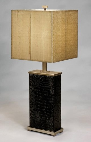 Table Lamp from Hicksville, New York. Handmade with faux alligator base an old silver accents, square shade. http://farmersmarketonline.com/lamps.htm