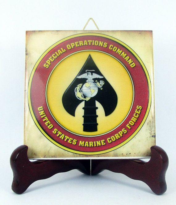 MARSOC Logo Ceramic Tile Emblem Collectible by TerryTiles2014